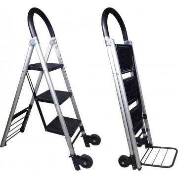 3-Step 2-in-1 Foldable Aluminium Ladder & Trolley