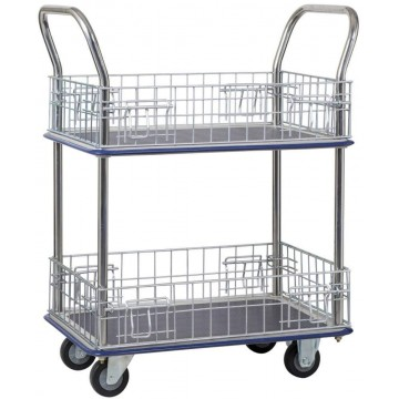 2-Tier Double-Handle Trolley Cart w/Mesh Basket (820 x 480 x 1010mm) 220kg