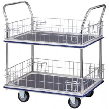 2-Tier Double-Handle Trolley Cart w/Mesh Basket (985 x 610 x 1060mm) 370kg