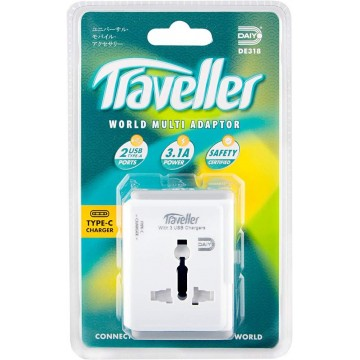 Daiyo Universal Travel Adapter w/3-Port USB Charger (2 x Type-A + 1 x Type-C)