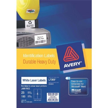 Avery Durable Heavy-Duty White Labels 100'S (99.1 x 139mm)