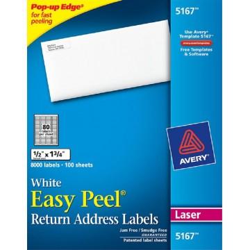 "Avery White Easy Peel Labels 8000'S (0.5"" x 1.75"")"