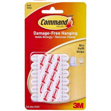 3M Command Damage-Free Hanging Refill Strips Mini 24'S 225g