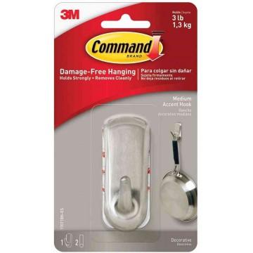 3M Command Damage-Free Hanging Accent Brushed Nickel Hook Medium 1.3kg