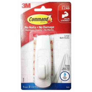 3M Command Damage-Free Hanging Bathroom Hook w/Water Resistant Strips Large 2.2kg