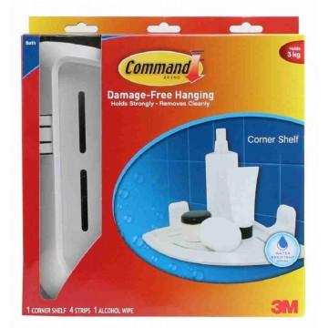 3M Command Damage-Free Hanging Bathroom Corner Shelf 3kg
