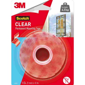 3M Scotch Permanent Mounting Tape (21mm x 4m) Clear