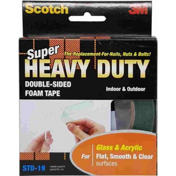 3M Scotch Super Heavy Duty Double-Sided Foam Tape STD-19 (19mm x 4m) Clear & Smooth Surfaces