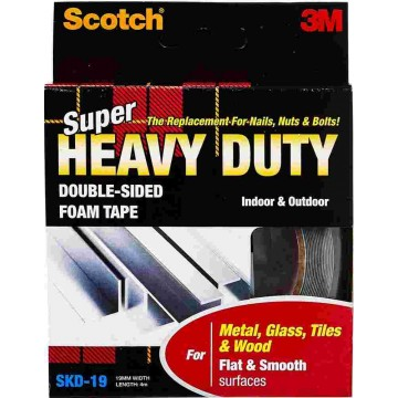 3M Scotch Super Heavy Duty Double-Sided Foam Tape SKD-19 (19mm x 4m) Flat & Smooth Surfaces