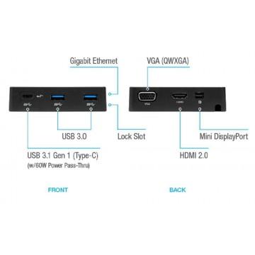 Targus DOCK412 USB-C Alt-Mode Travel Docking Station w/Power