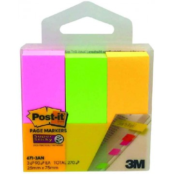 3M Post-it Super Sticky Pagemarkers 671-3AN (25 x 75mm)