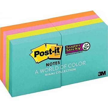 "3M Post-it Super Sticky Notes 622-8SSMIA (2"" x 2"") 8'S Miami Collection"