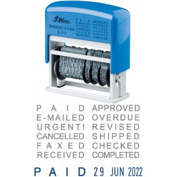 Shiny S-312 Self-Inking Phrase & Date Stamp (Blue/Red Ink)