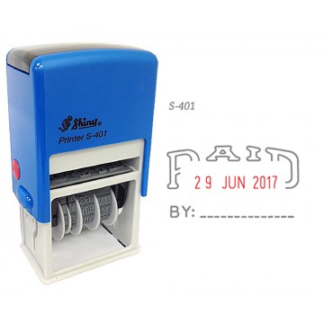Shiny S-401 Self-Inking Date Stamp w/PAID (Blue/Red Ink)