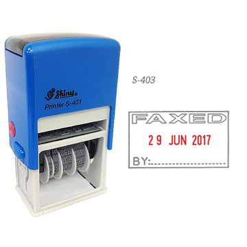 Shiny S-403 Self-Inking Date Stamp w/FAXED (Blue/Red Ink)