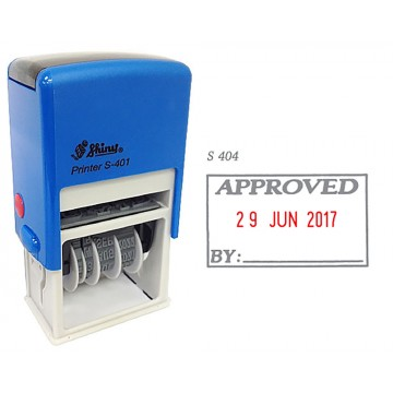 Shiny S-404 Self-Inking Date Stamp w/APPROVED (Blue/Red Ink)