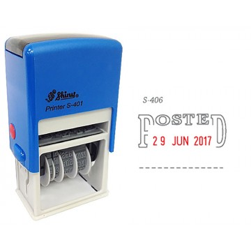 Shiny S-406 Self-Inking Date Stamp w/POSTED (Blue/Red Ink)
