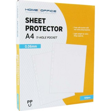 HnO 11-Hole Sheet Protector 0.06mm 100'S A4 Box Clear