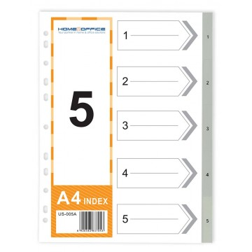 HnO PP Index Divider (1-5) A4 Grey