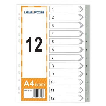 HnO PP Index Divider (1-12) A4 Grey