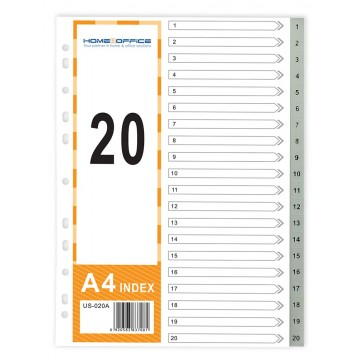 HnO PP Index Divider (1-20) A4 Grey