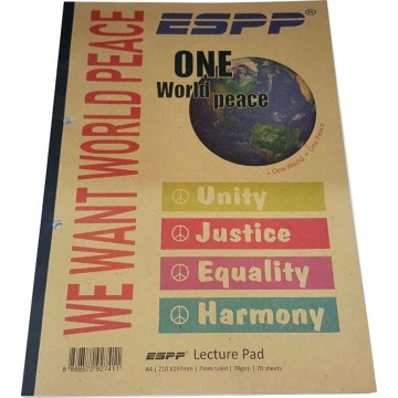 World Peace Lecture Pad A4