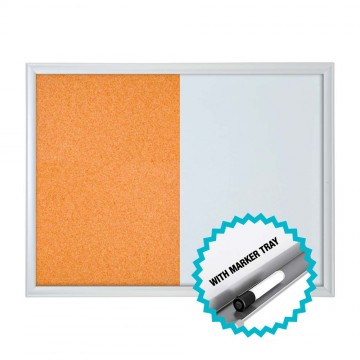 Combo Board w/Marker Tray (45 x 60cm) Aluminium Frame