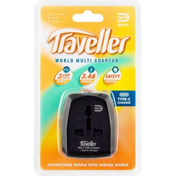 Daiyo Universal Travel Adapter w/4-Port USB Charger (3 x Type-A + 1 x Type-C)