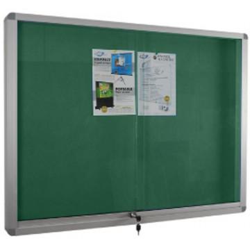Felt Noticeboard w/Sliding Door & Lock (120 x 150cm) Aluminium Frame - With Installation