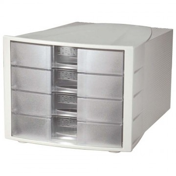 HAN File Cabinet 4 Drawers (368 x 294 x 235mm) Grey Clear