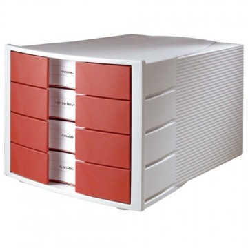 HAN File Cabinet 4 Drawers (368 x 294 x 235mm) Grey Red
