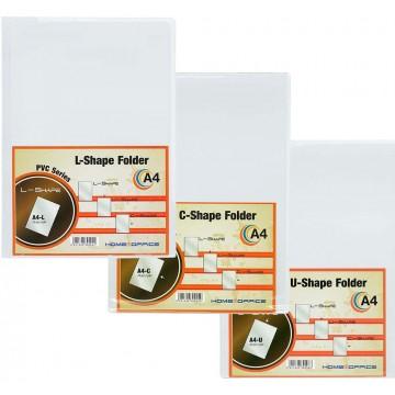 HnO PVC Clear Folder 25'S A4 (L-Shape, C-Shape, U-Shape)