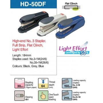Max Light Effort Flat Clinch Stapler HD-50DF 30 Sheets