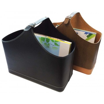 PU Leather Magazine Basket