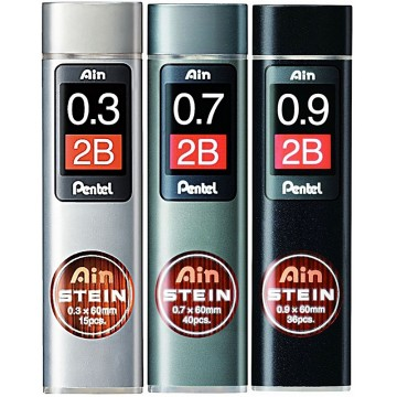 Pentel Ain Stein Pencil Lead 2B (0.3mm, 0.7mm, 0.9mm)