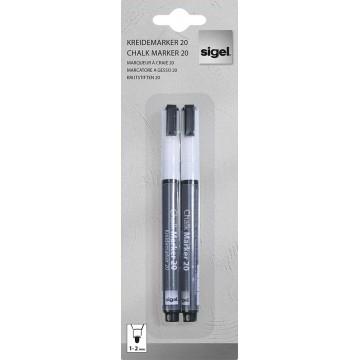 Sigel GL178 Chalk Marker 20 Round Tip 2'S White