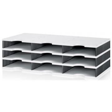 Styrodoc Trio Storage System w/9 Compartments Grey/Black