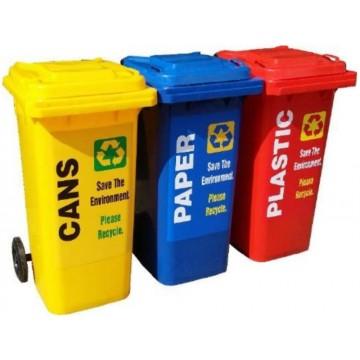 Mobile Waste Bin w/Recycle Label (470 x 540 x 940mm) 120L