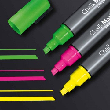 Sigel GL182 Chalk Marker 50 Chisel Tip 3'S (Pink, Green, Yellow)